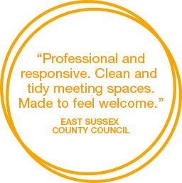 Professional andresponsive. Clean and tidy meeting spaces. Made to feel welcome.
